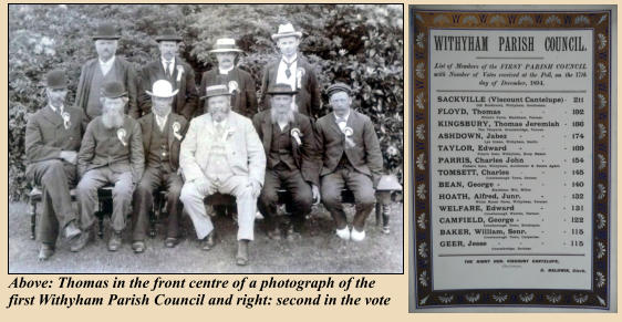 Above: Thomas in the front centre of a photograph of the first Withyham Parish Council and right: second in the vote